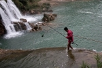 fishing at the ban gioc waterfalls